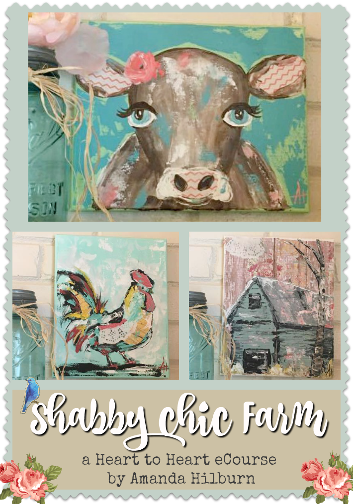 Shabby Chic Farm eCourse by Amanda Hilburn #mixedmedia #paintingclass #painting #tutorial