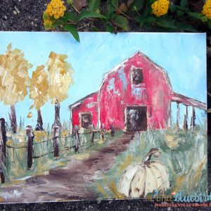 Red Barn Original acrylic painting by Amanda Hilburn Available exclusively at The Little Bluebird Gallery #barn #farmhouse #art