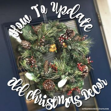 Learn how I updated and old wreath and small tree using chalk type paint in just a few minutes! #diy #chalkpaint #christmasdecor #updatedecor