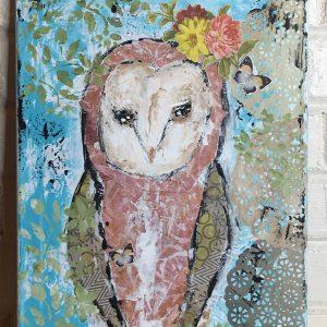 Betsy the Barn Owl, Original 11x14 Mixed Media Art by Amanda Hilburn at The Little Bluebird Gallery