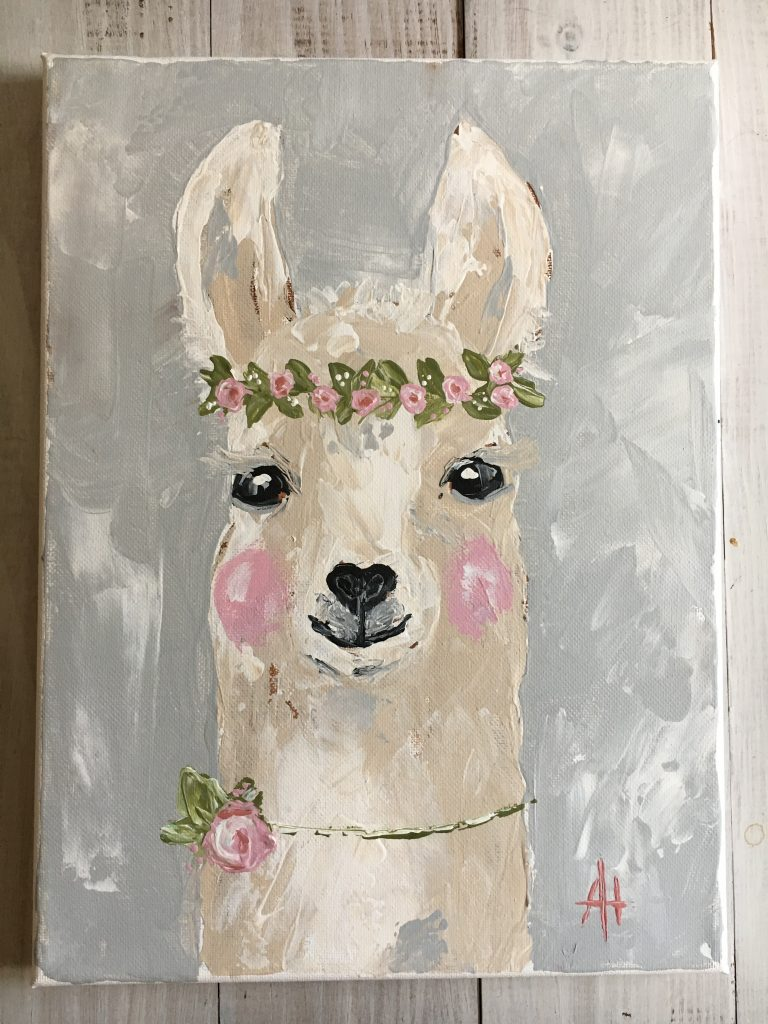 Shabby Chic Llama; original painting by Amanda Hilburn