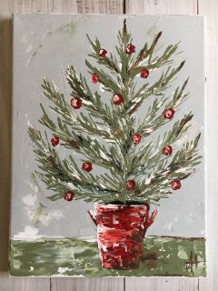 Shabby Chic Christmas Tree; Original Painting by Amanda Hilburn