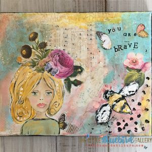 You Are Brave; Original Girl Painting; Mixed Media Original