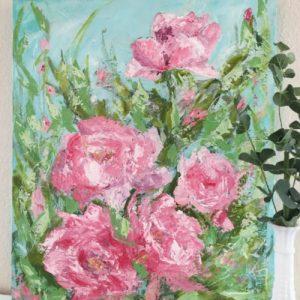 Peony Pink; Original Floral Painting