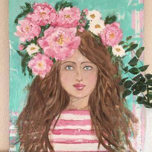 Peony Princess; Original Girl Painting