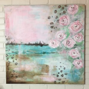 Abstract Blooms and Leopard Print; Original Abstract Floral Painting