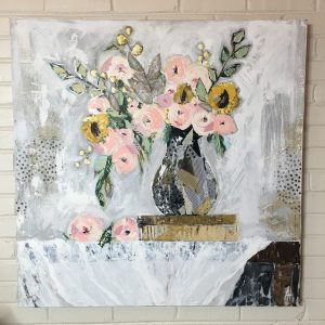 The Library; Original Floral Painting