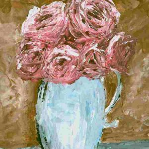 Pitcher of Roses; Floral Print