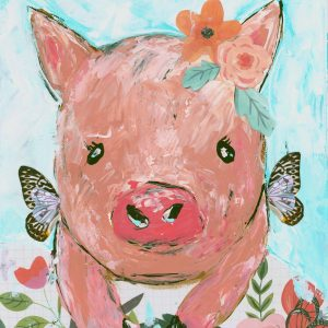 Brave Wings Piggy; Pig Art Print