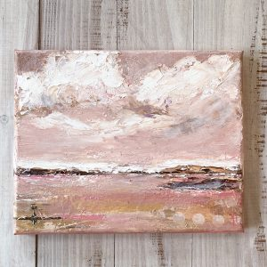Pink and Polka Dots; Original Mixed Media Landscape
