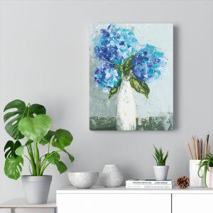 Three Hydrangeas Canvas Gallery Wrap Print