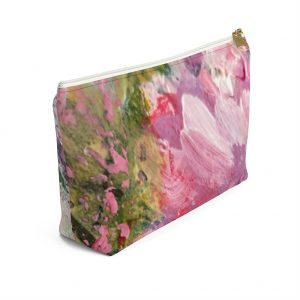 Abstract Peony Accessory Pouch w T-bottom