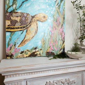 Sea Turtle; Original Mixed Media Painting