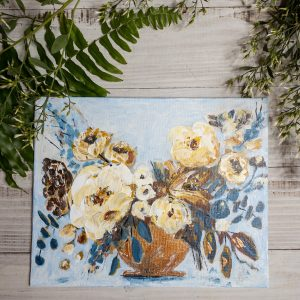 Blue Jean Blooms; Original Floral Painting