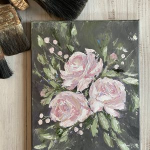 A Trio Of Pink ; Original Acrylic Floral