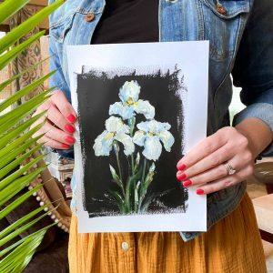 White Irises; Original Floral Painting