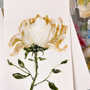 Golden Rose; Original Floral Painting