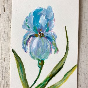 Blue Iris; Original Floral Painting