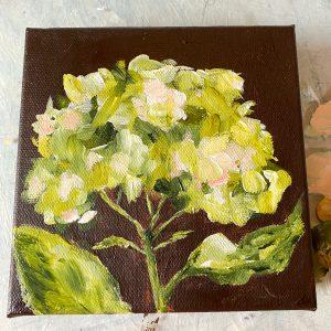 Fresh Greens Hydrangea; Original Floral Painting
