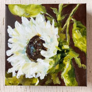 White Sunflower; Original Floral Painting