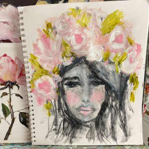 Flowers In Her Hair; Original Charcoal and Acrylic Portrait