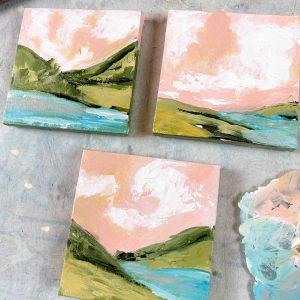 Tiny Landscape Triptych; Original Landscape Painting Set of 3