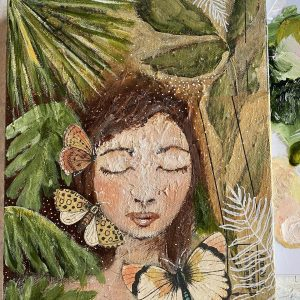 Fiona and the Butterflies; Original Mixed Media Painting